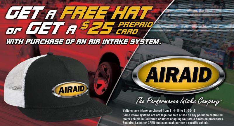 AIRAID $25 Card on Air Intake Systems